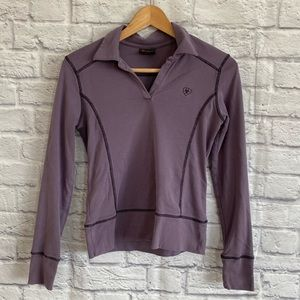 ARIAT Purple Long Sleeve T-Shirt Top with Collar
